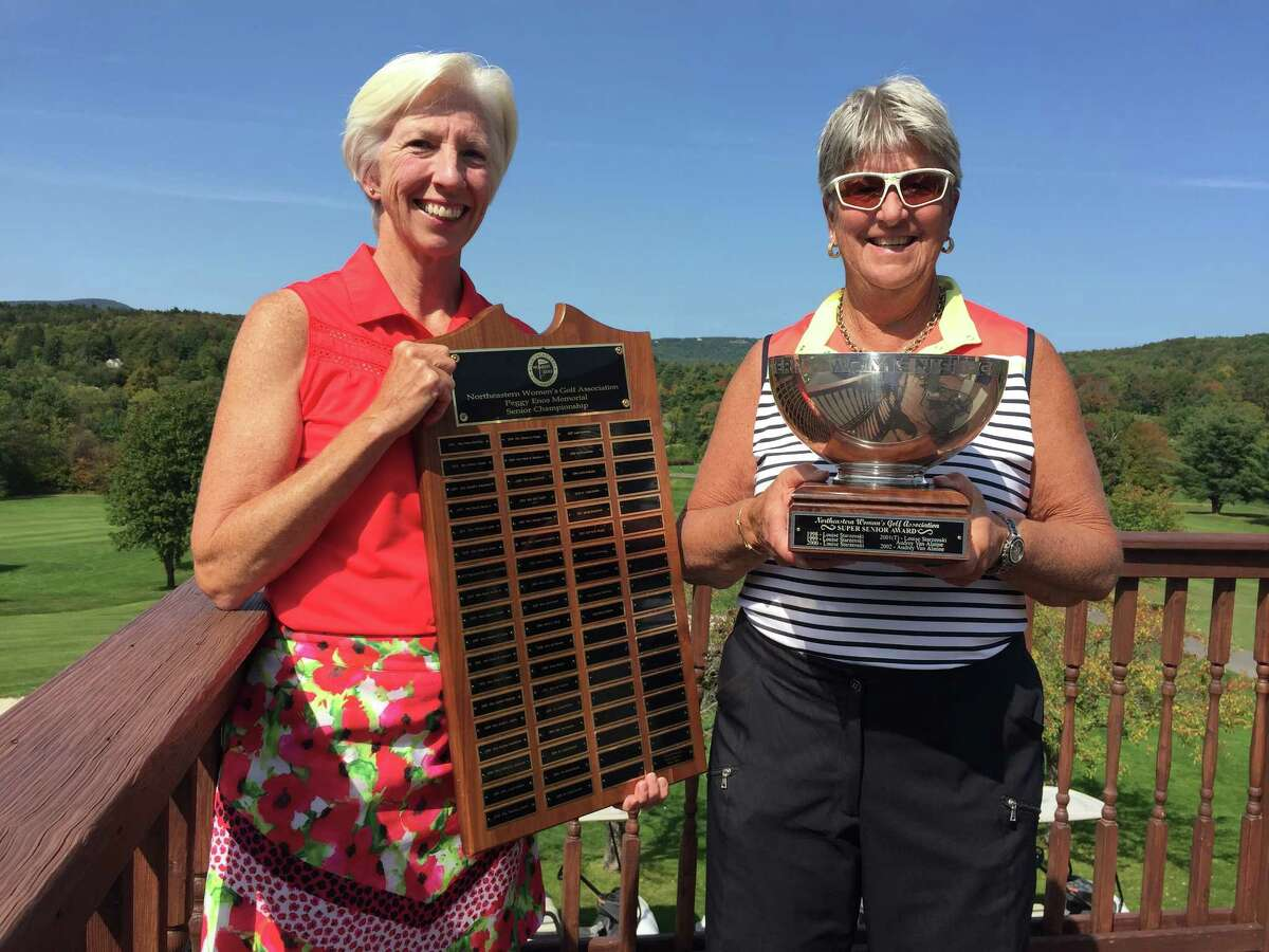 Anne Porter Van Buren of Pinehaven, left, earned the Northeastern Women's Golf Association senior championship on Tuesday, Sept. 12, 2017 at Windham Country Club in Windham. Carolyn Merritt of Columbia won the super senior championship.