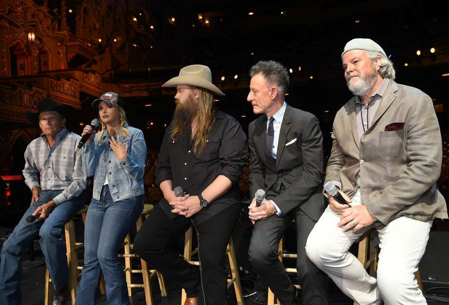 SAN ANTONIO, TX - SEPTEMBER 12:  (L-R) Country Icon George Strait, Musicians Miranda Lambert, Chris Stapleton, Lyle Lovett and Robert Earl Keen speak onstage during a Press Conference held prior to Hand In Hand Texas Benefit Concert at Majestic Theatre on September 12, 2017 in San Antonio, Texas.  (Photo by Rick Diamond/Getty Images for George Strait) Photo: Rick Diamond/Getty Images For George Strait