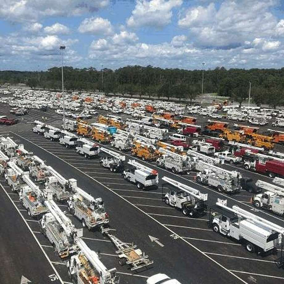 Utility trucks ready for dispatch in Florida, following Hurricane Irma in mid-September 2017. (Photo courtesy Eversource)
