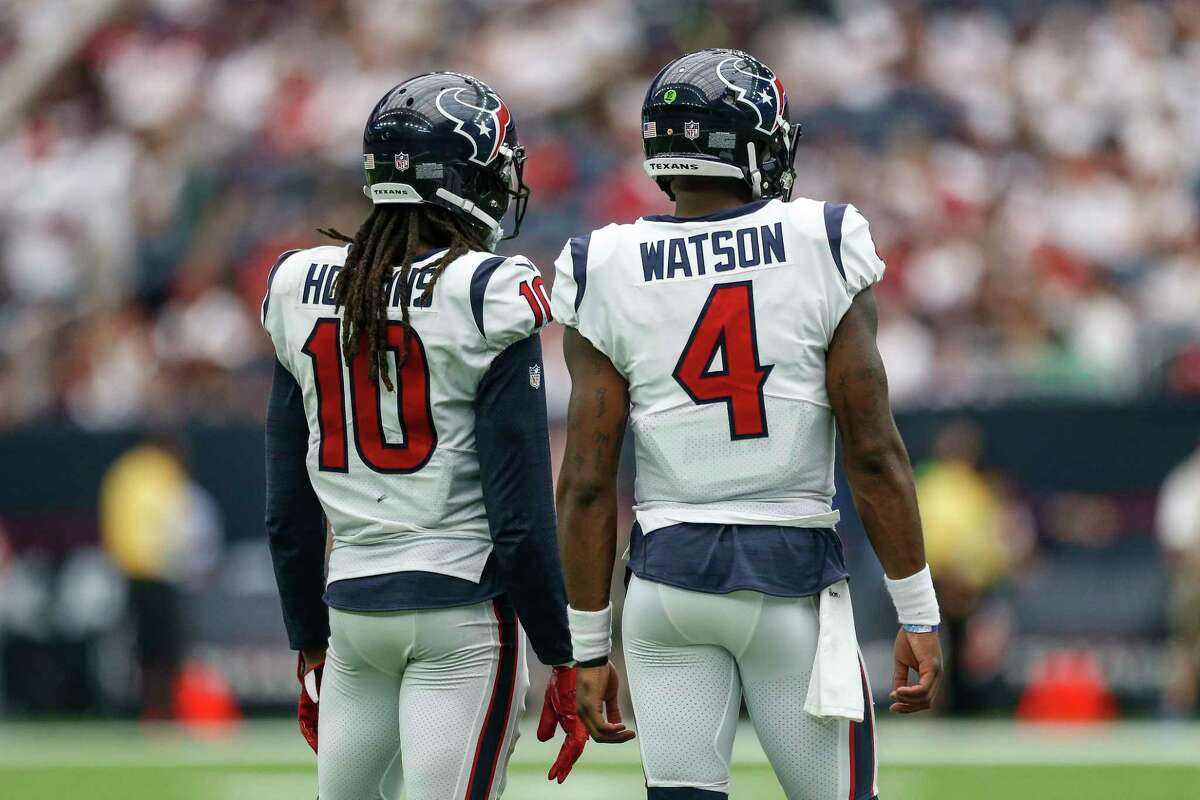 Houston Texans wide receiver DeAndre Hopkins (10) and quarterback Deshaun Watson (4) talk before taking the field in the second half as the Houston Texans lose to the Jacksonville Jaguars 29-7 at NRG Stadium Sunday, Sept. 10, 2017 in Houston. ( Michael Ciaglo / Houston Chronicle)