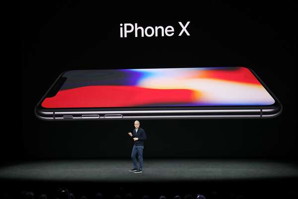 Tim Cook, AppleÕs chief executive, introduces the iPhone X at the new Steve Jobs Theater in Cupertino, Calif., Sept. 12, 2017. (Jim Wilson/The New York Times)