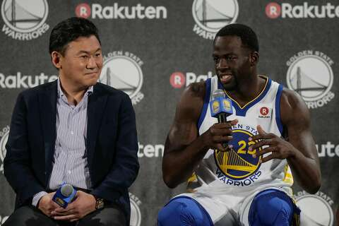 c53363c9a Draymond Green (right) speaks during a press conference to announce a jersey  sponsorship deal