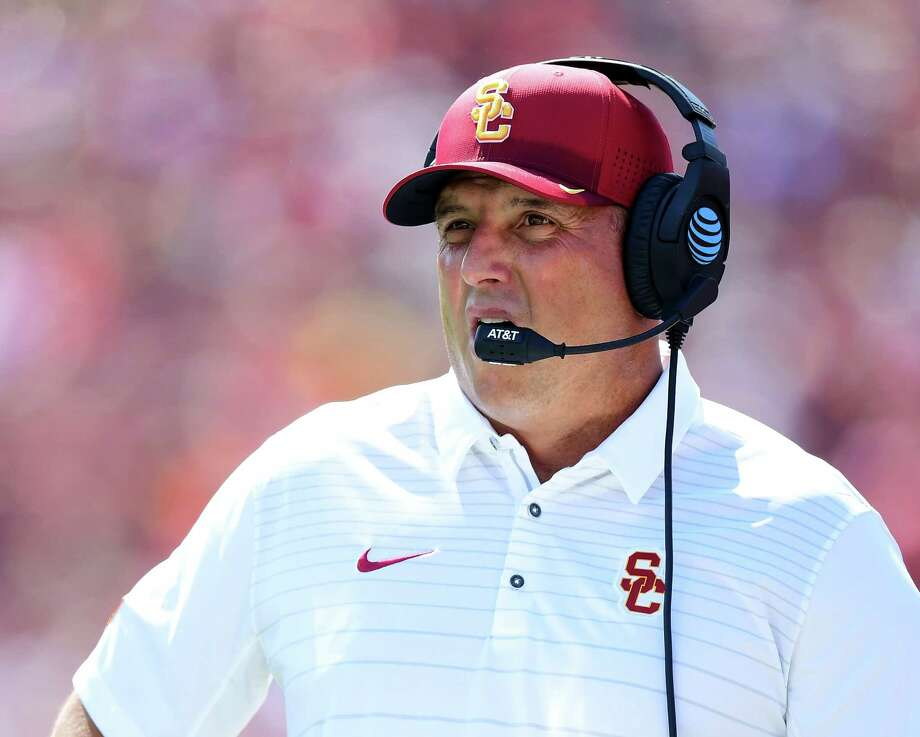 USC's Clay Helton played and coached at Houston before landing with one of college football's iconic programs. He returned to his hometown this week for the Bear Bryant Awards. Photo: Harry How, Staff / 2017 Getty Images