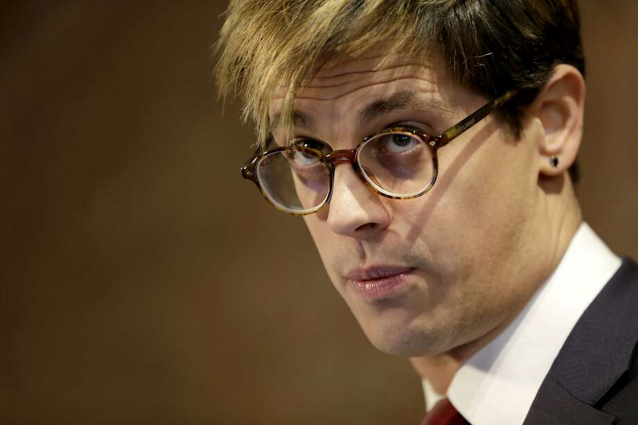 FILE -  In this Tuesday, Feb. 21, 2017 file photo, Milo Yiannopoulos speaks during a news conference in New York. Polarizing right-wing writer Milo Yiannopoulos has filed a $10 million lawsuit over a canceled book deal, Friday, July 7, 2017 .(AP Photo/Seth Wenig, File) Photo: Seth Wenig, Associated Press