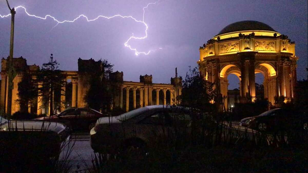 Lightening is shown near the Palace of Fine Arts in San Francisco on Sept. 11, 2017.