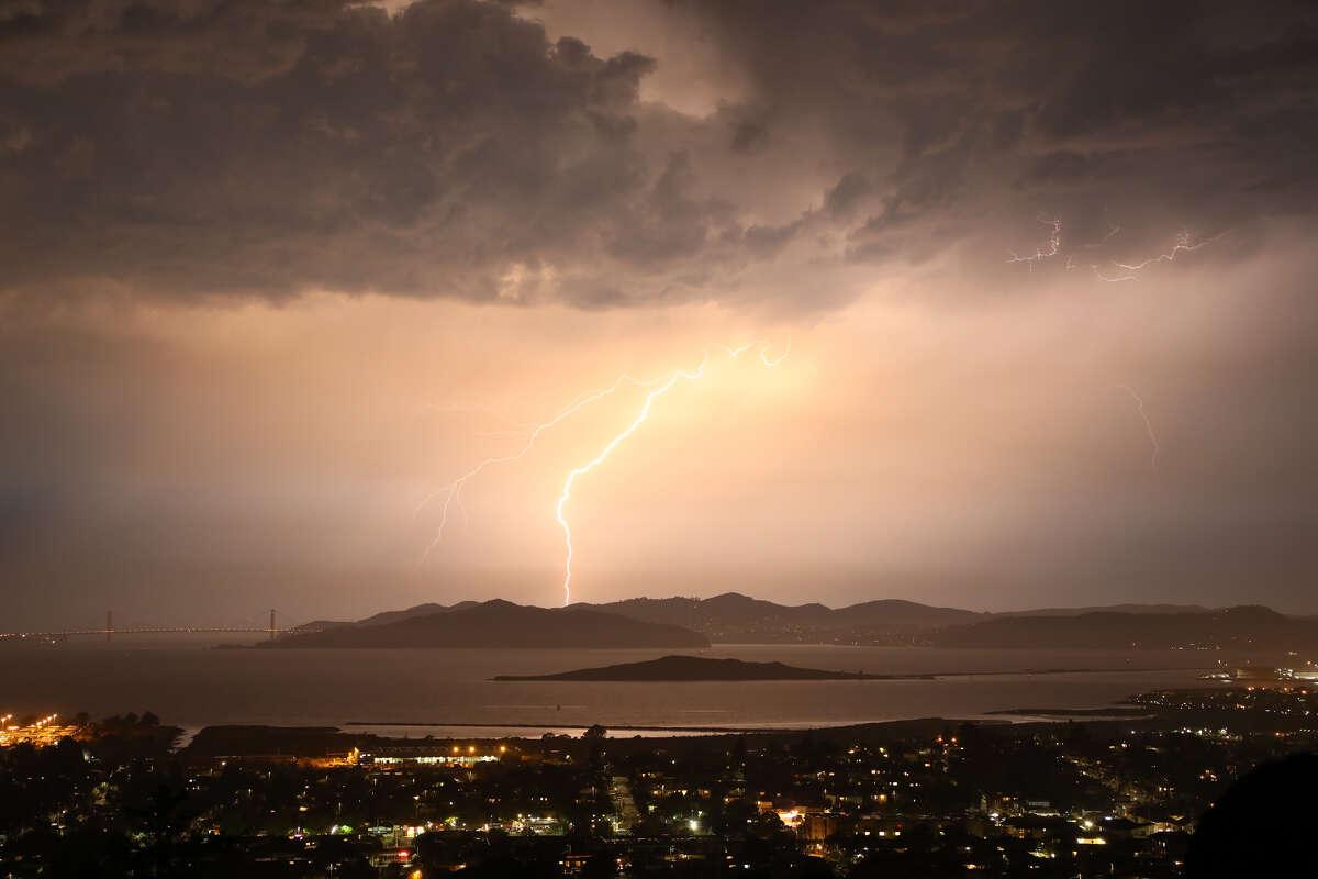 A view of lightening seen near San Francisco on Sept. 11, 2017.
