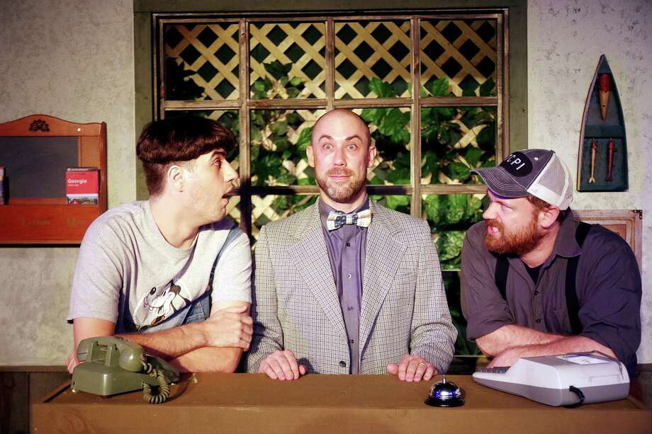 """In Pearl Theater's """"The Foriegner,"""" Jeremiah Sammons' character, center, is scrutinized by characters played by Riley Simms, left, and Kevin Stalls. Sammons says his hearing impairment helps him relate to the reactions his character, an Englishman who doesn't want to talk, gets from locals in a rural Georgia fishing lodge. Photo: Pin Lim, Freelance / Copyright Forest Photography, 2016."""