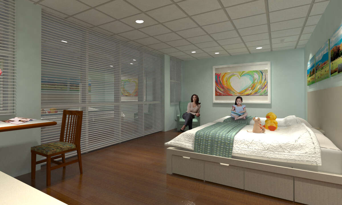 A bedroom in the new 20-bedroom wingunder construction atRonald McDonald Houston Holcombe House.
