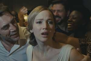 "Javier Bardem and Jennifer Lawrence in Darren Aronofsky's ""mother!"""
