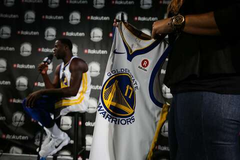 51b6f5ae1 Draymond Green gives an interview after a press conference to announce a jersey  sponsorship deal between