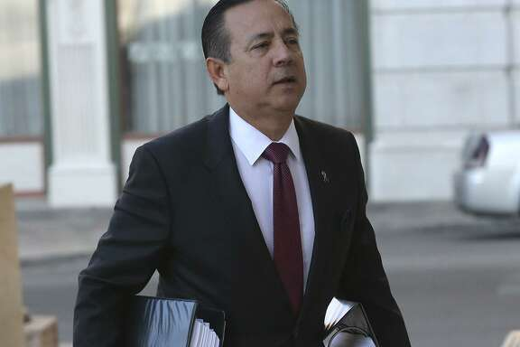 "State. Sen. Carlos Uresti is pictured in September before testifying in a bankruptcy court trial. On the witness stand, Uresti said that after FourWinds Logistics' collapse he became aware that it ""might have been a Ponzi scheme."" In February, a federal jury convicted Uresti on 11 felony charges in a criminal trial that lasted almost five weeks. He is scheduled to be sentenced in June."