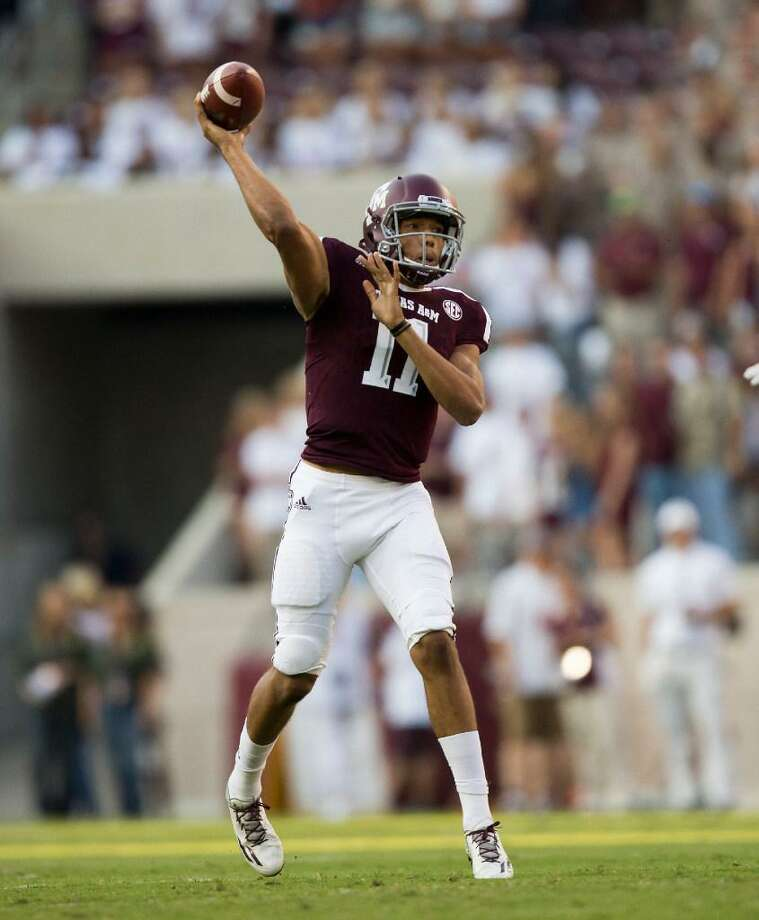 Texas A&M quarterback Kellen Mond passes against Nicholls State on Sept. 9, 2017, in College Station, Texas. The Aggies won the game. Photo: Sam Craft /AP Photo