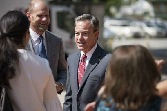 Texas Speaker of the House Joe Straus greets supporters as he arrives for a luncheon in his honor Sept. 12, at La Villita in San Antonio. Saturday, Straus indicated he's ready for any challengers as he seeks what would be a record-setting sixth term as leader of the Texas House.