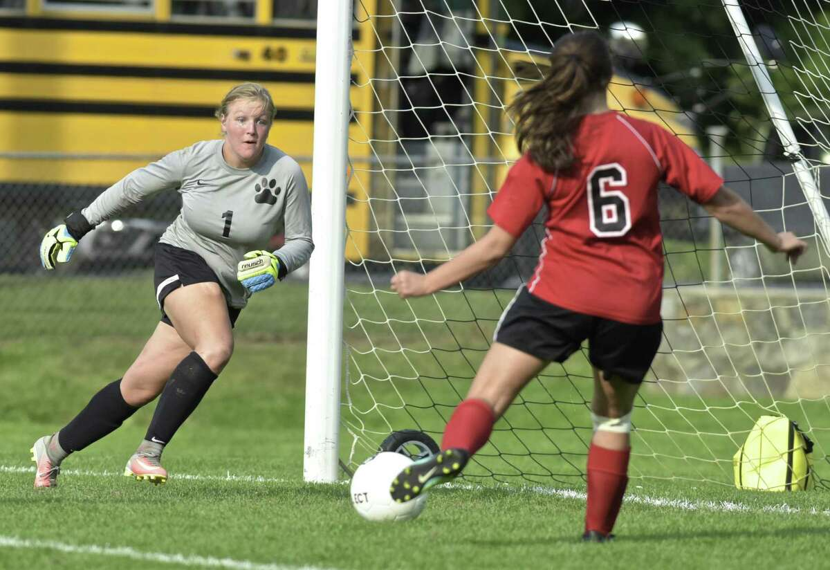 Bethel goalie Natasha Redmond (1) was too late to stop the shot for a goal by Masuk's Kaitlyn Infante (6) in the girls soccer game between Masuk and Bethel high schools, Tuesday, September 12, 2017, at Rourke Field, in Bethel, Conn.