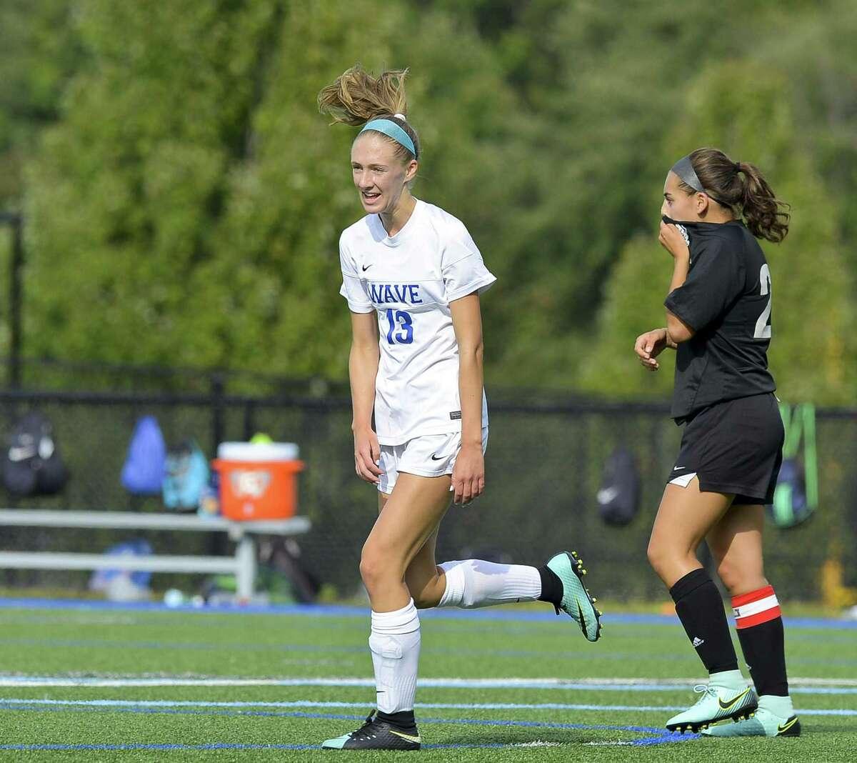 Darien Ellen Harnisch (13) celebrates her first half goal against Trumbull in a FCIAC varsity girls soccer game on Tuesday, Sept. 12, 2017 in Darein, Connecticut. Darien defeated Trumbull 1-0.