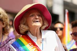 FILE -- Edith Windsor, the plaintiff in the case involving the Defense of Marriage Act, among the grand marshals during the annual gay pride march in New York, June 30, 2013. Windsor, whose landmark Supreme Court case struck down the Defense of Marriage Act in 2013 and granted same-sex married couples federal recognition for the first time and rights to myriad federal benefits, died on Sept. 12, 2017, in New York. She was 88. (James Estrin/The New York Times)