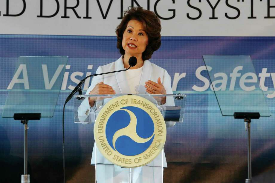 U.S. Transportation Secretary Elaine Chao announces new voluntary safety guidelines for self-driving cars during a visit to an autonomous vehicle testing facility at the University of Michigan, in Ann Arbor, Mich. The new guidelines update policies issued last fall by the Obama administration, which were also largely voluntary. (Hunter Dyke/The Ann Arbor News via AP) Photo: Hunter Dyke, MBO / The Ann Arbor News