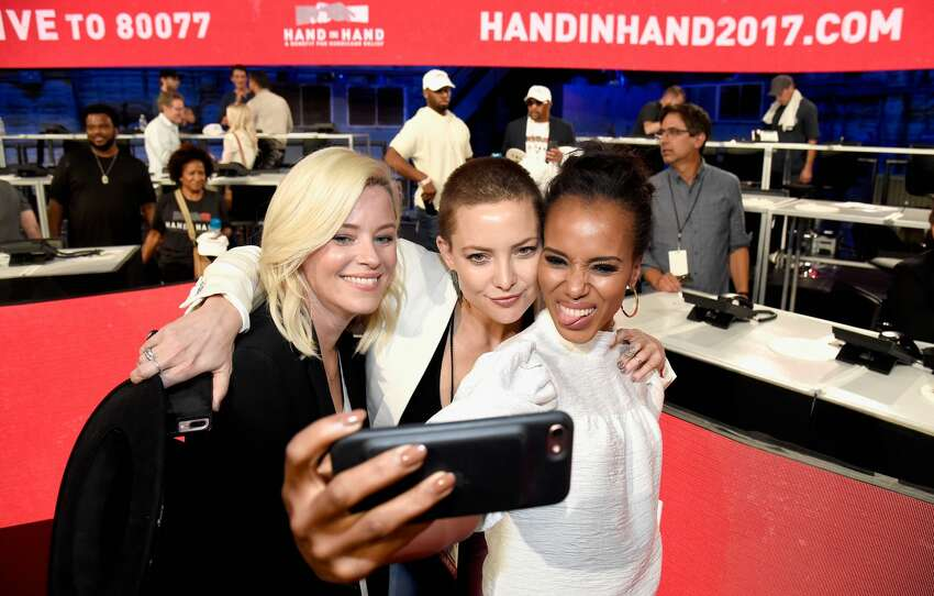 UNIVERSAL CITY, CA - SEPTEMBER 12: In this handout photo provided by Hand in Hand, Elizabeth Banks, Kate Hudson and Kerry Washington attend Hand in Hand: A Benefit for Hurricane Relief at Universal Studios AMC on September 12, 2017 in Universal City, California. (Photo by Kevin Mazur/Hand in Hand/Getty Images)
