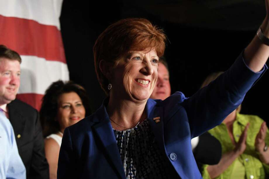 Albany Mayor Kathy Sheehan celebrates her victory in the Democratic Primary on Tuesday, Sept. 12, 2017, at the Ramada Inn in Albany, N.Y. (Will Waldron/Times Union) Photo: Will Waldron, Albany Times Union / 40041528A