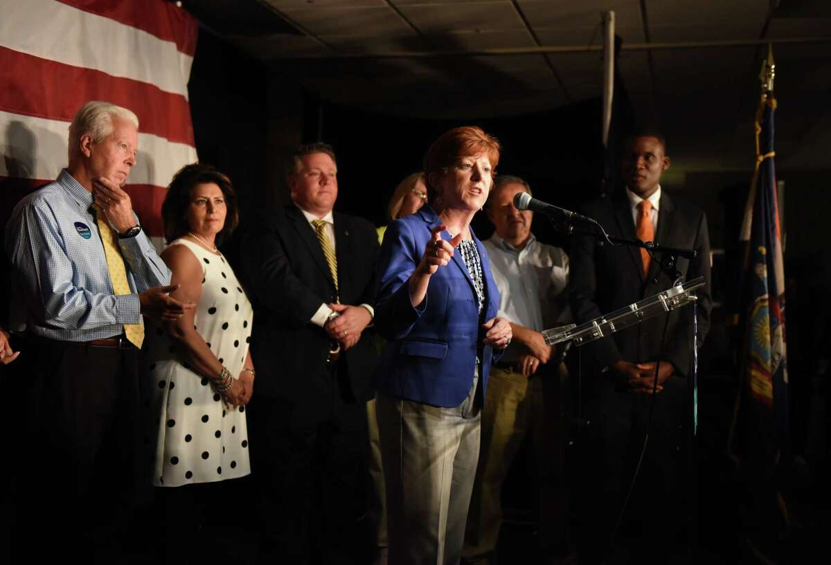 Albany Mayor Kathy Sheehan speaks to supporters after claiming victory in the Democratic Primary on Tuesday, Sept. 12, 2017, at the Ramada Inn in Albany, N.Y. (Will Waldron/Times Union)
