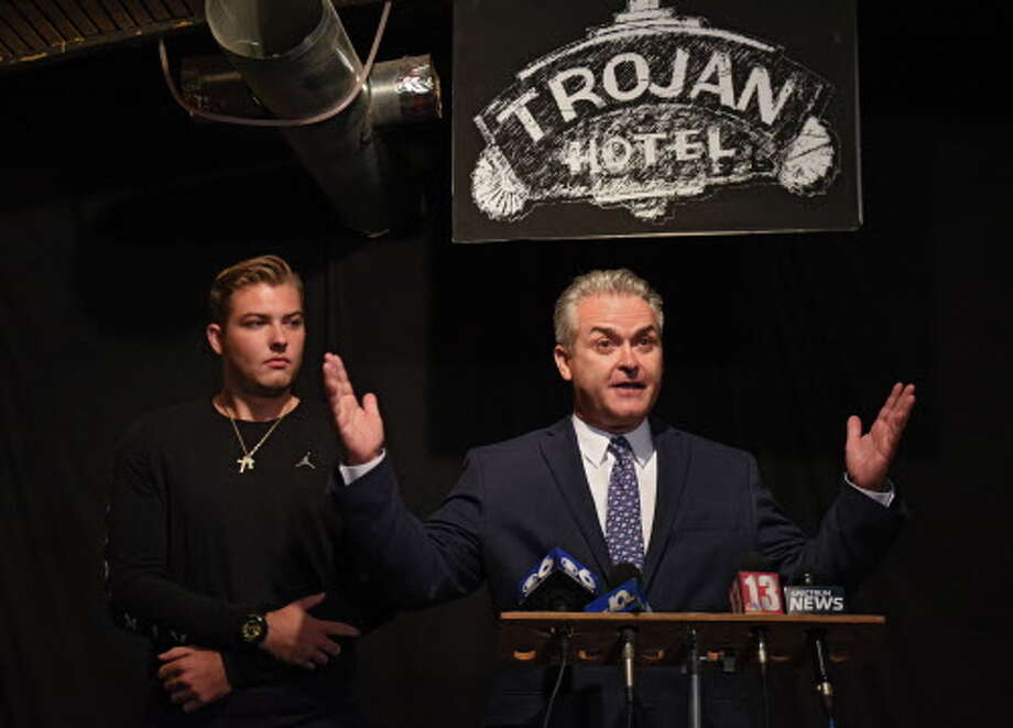Assemblyman Steven McLaughlin declares victory in the Rensselaer County executive primary race at O'Brien's Public House on Tuesday Sept. 12, 2017 in Troy, N.Y. His son Danny stands next to him at left. (Lori Van Buren / Times Union) Photo: Lori Van Buren, Albany Times Union / 40041521A