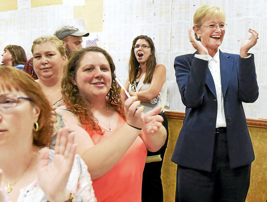 Nancy Rossi, right, celebrates at her campaign headquarters Tuesday night after she defeated incumbent West Haven Mayor Ed O'Brien during the Democratic primary. Photo: Peter Hvizdak / Hearst Media Connecticut / New Haven Register