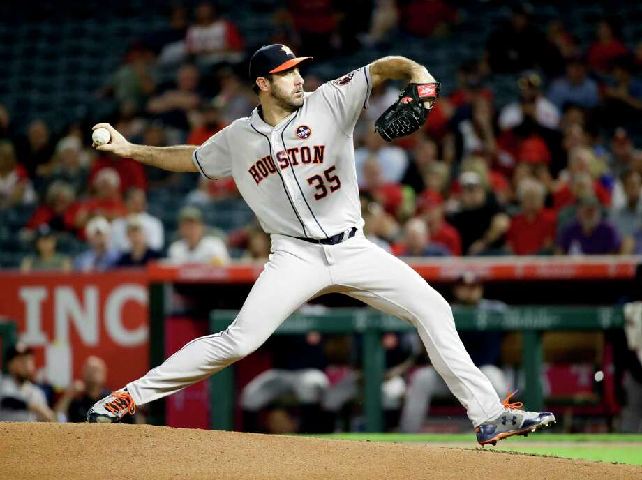 Houston Astros starting pitcher Justin Verlander throws against the Los Angeles Angels during the first inning of a baseball game in Anaheim, Calif., Tuesday, Sept. 12, 2017. (AP Photo/Chris Carlson) Photo: Chris Carlson, Associated Press / Copyright 2017 The Associated Press. All rights reserved.