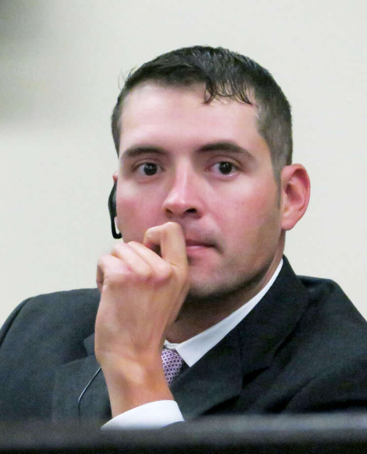 Julio Cesar Hernandez Palos sits in the 111th District Court room where he is on trial accused of assaulting four young men with a knife during an after party in early January. Photo: Cuate Santos/Laredo Morning Times
