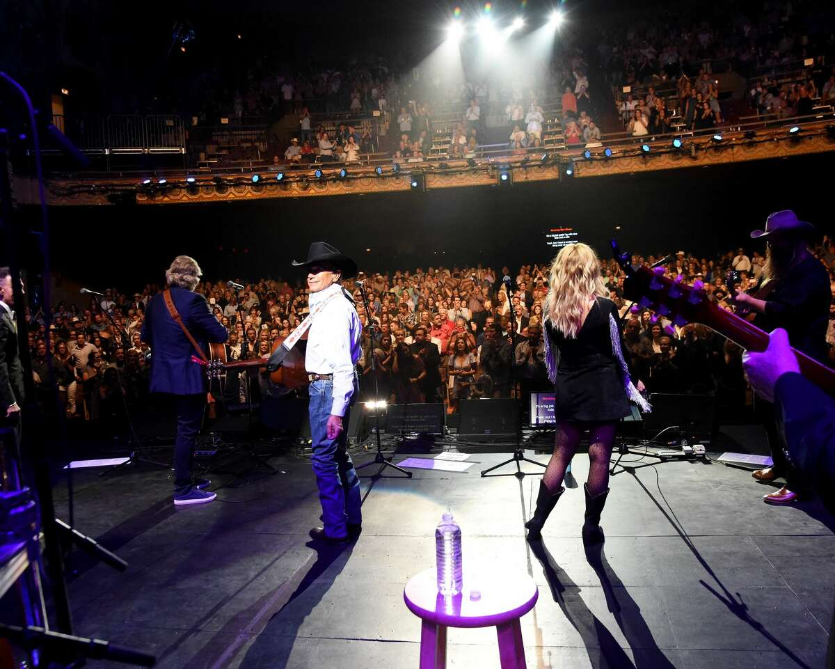 SAN ANTONIO, TX - SEPTEMBER 12: (L-R) Robert Early Keen, George Strait, Miranda Lambert and Chris Stapleton perform onstage during George Strait's Hand in Hand Texas benefit concert; Strait and special guests Miranda Lambert, Chris Stapleton, Lyle Lovett and Robert Earl Keen perform in concert at the Majestic Theatre on September 12, 2017 in San Antonio, Texas. (Photo by Rick Diamond/Getty Images for George Strait)