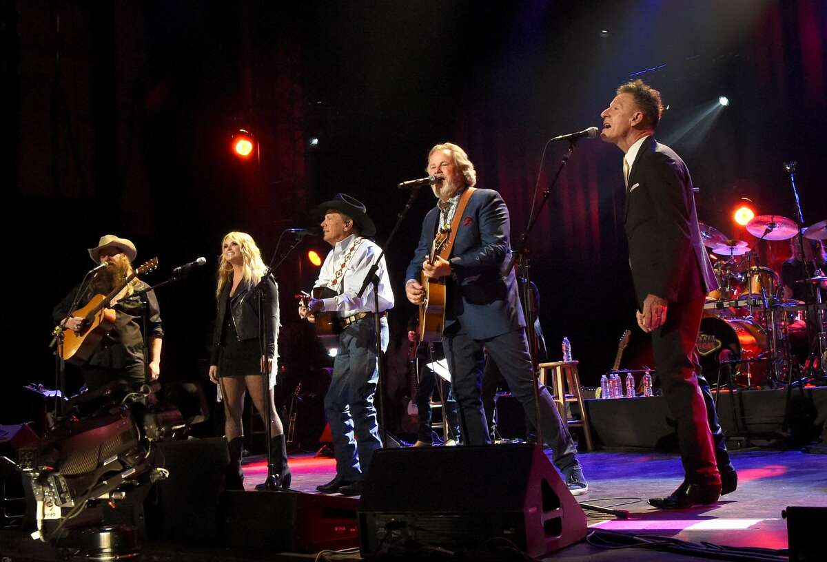 SAN ANTONIO, TX - SEPTEMBER 12: (L-R) In this handout photo provided by Hand in Hand, Chris Stapleton, Miranda Lambert, George Strait, Lyle Lovett and Robert Earl Keen perform onstage during George Strait's Hand in Hand Texas benefit concert at the Majestic Theatre on September 12, 2017 in San Antonio, Texas. (Photo by Rick Diamond/Hand in Hand/Getty Images)