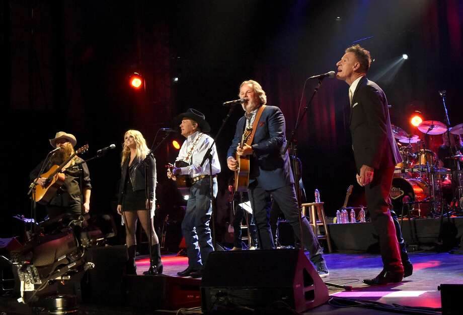 SAN ANTONIO, TX - SEPTEMBER 12:  (L-R) In this handout photo provided by Hand in Hand, Chris Stapleton, Miranda Lambert, George Strait, Lyle Lovett and Robert Earl Keen perform onstage during George Strait's Hand in Hand Texas benefit concert at the Majestic Theatre on September 12, 2017 in San Antonio, Texas.  (Photo by Rick Diamond/Hand in Hand/Getty Images) Photo: Rick Diamond/Hand In Hand/Getty Images