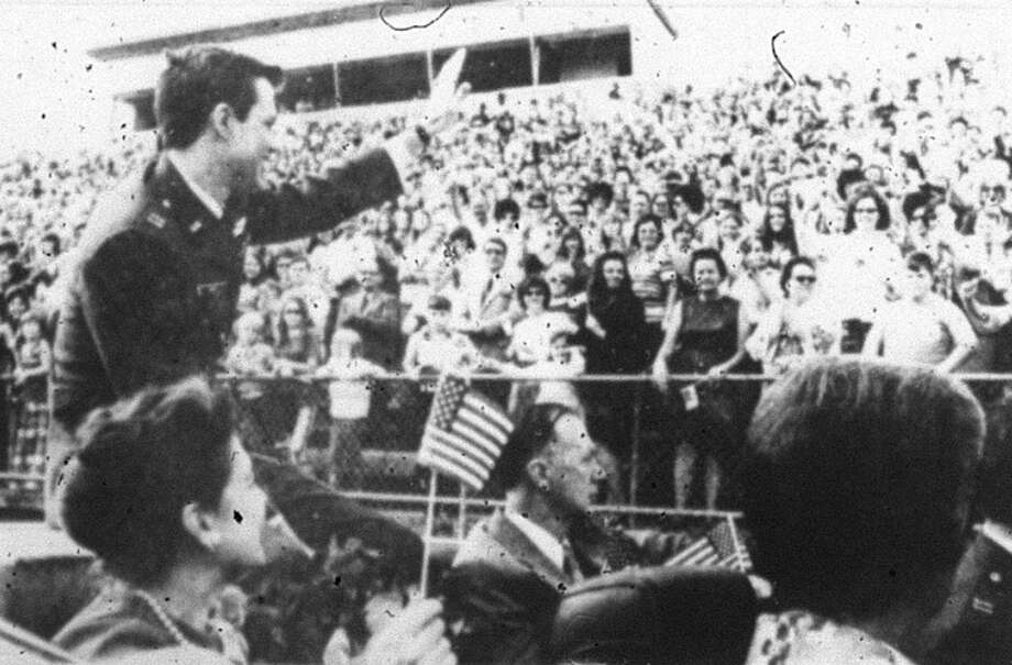A celebration held in Conroe at the Conroe football stadium in March 1973 when Vietnam prisoner of war Capt. James Ray returned home. He was held captive from May 1966 through February 1973. A parade and large celebration welcomed him back to Conroe in March 1973.