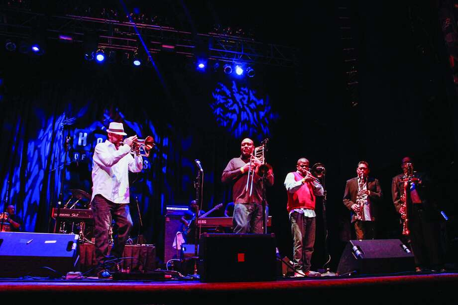 Preston Smith, on trumpet, performing at the House of Blues. Photo by  Heidi Powell-Prera.