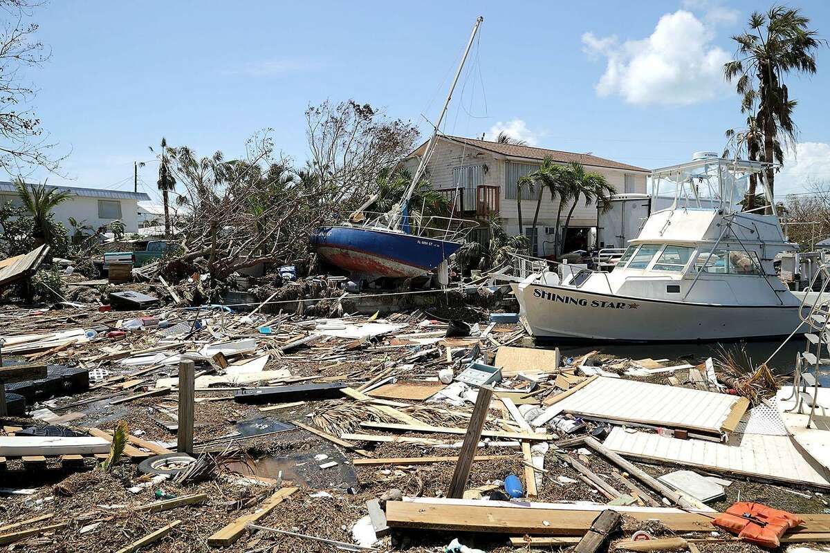 Boats, cars and other debris clog waterways in the Florida Keys two days after Hurricane Irma slammed into the state on Tuesday in Marathon. The Federal Emergency Managment Agency has reported that 25 percent of all homes in the Florida Keys were destroyed and 65 percent sustained major damage when they took a direct hit from Hurricane Irma.