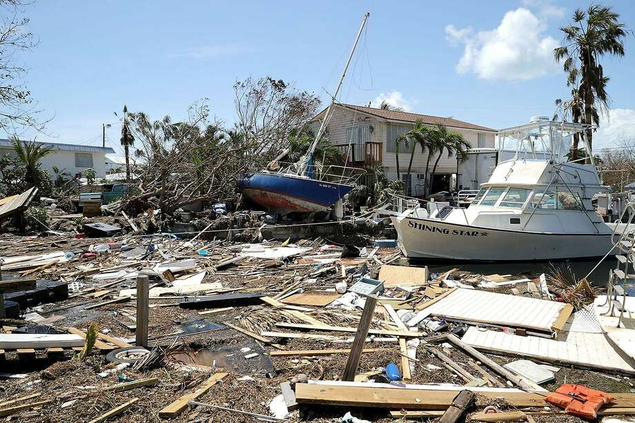 Boats, cars and other debris clog waterways in the Florida Keys two days after Hurricane Irma slammed into the state on Tuesday in Marathon. The Federal Emergency Managment Agency has reported that 25 percent of all homes in the Florida Keys were destroyed and 65 percent sustained major damage when they took a direct hit from Hurricane Irma. Photo: Chip Somodevilla / Getty Images / 2017 Getty Images