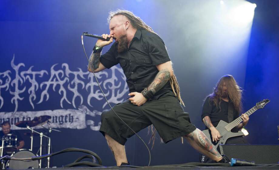 Rafal Piotrowski of Decapitated performing live on stage on day 1 at Bloodstock Festival at Catton Hall on August 11, 2017 in Burton Upon Trent, England.  (Photo by Katja Ogrin/Redferns) Photo: Katja Ogrin/Redferns