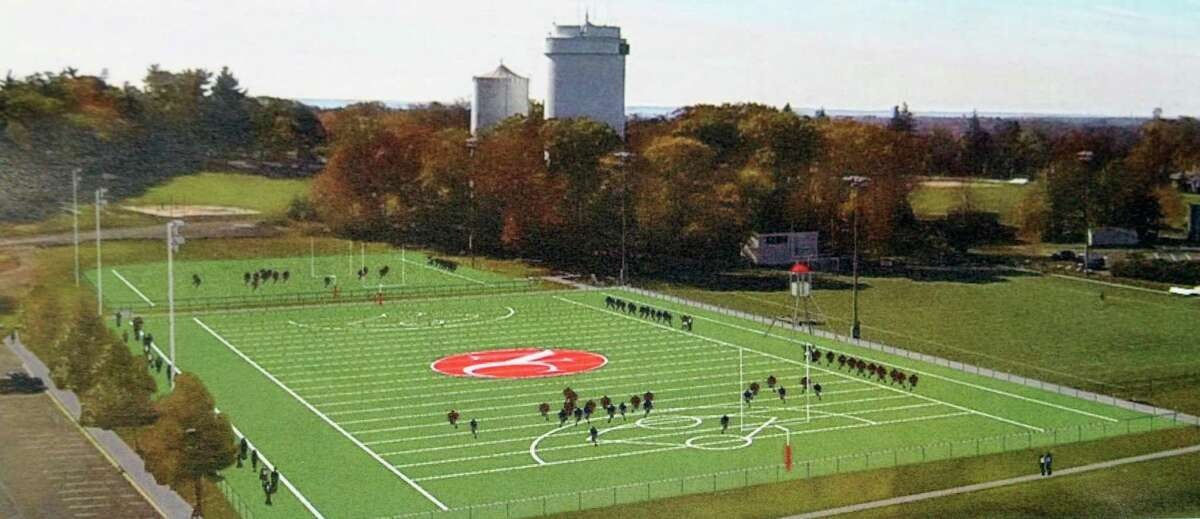 A rendering of the planned water town turf field at New Canaan High School.