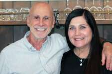 Sandy and Angela Baldanza at their New Canaan restaurant on Sept. 7.