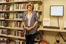 Lynda Sorensen, an English teacher at Darien High School, at the teen lounge in the Darien Library which is home to the new alternative high school program, Fitch Academy.