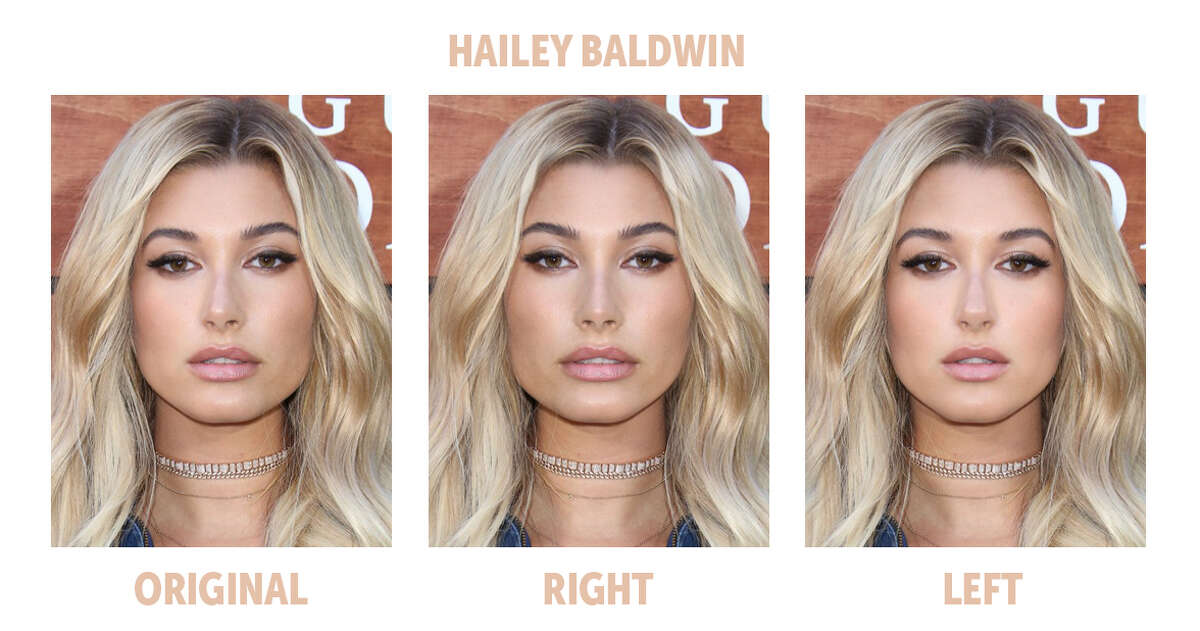 The Bella Ella Boutique challenged the theory that the most symmetrical faces are the most beautiful, so they compared the left and right sides of some of the most popular models' faces to test the theory. Here is the symmetry comparison of model Hailey Baldwin.