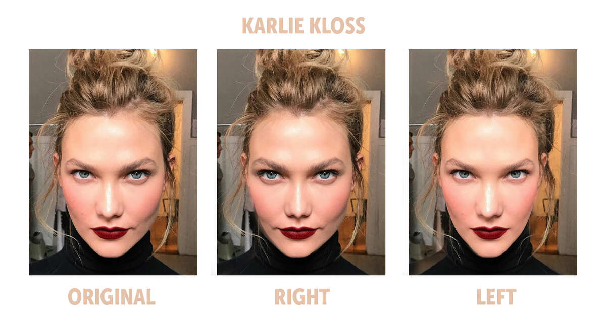 The Bella Ella Boutique challenged the theory that the most symmetrical faces are the most beautiful, so they compared the left and right sides of some of the most popular models' faces to test the theory. Here is the symmetry comparison of model Karlie Kloss.