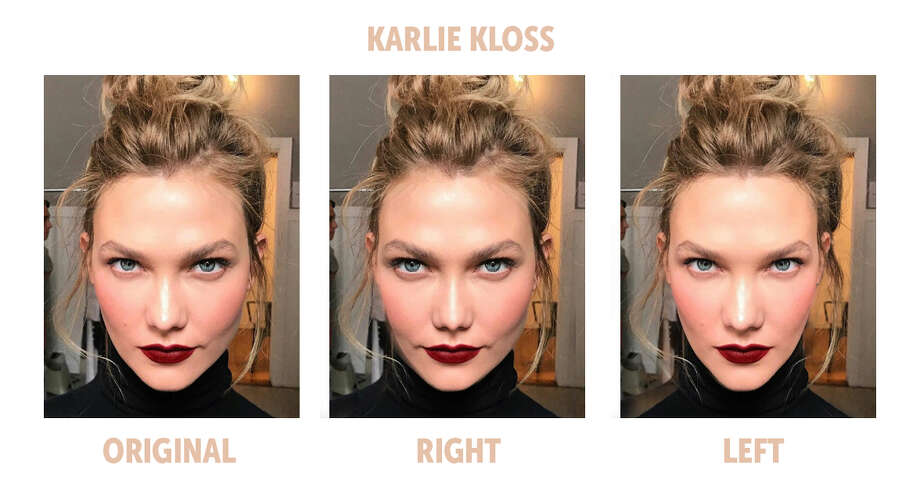 The Bella Ella Boutique challenged the theory that the most symmetrical faces are the most beautiful, so they compared the left and right sides of some of the most popular models' faces to test the theory. Here is the symmetry comparison of model Karlie Kloss. Photo: Bella Ella Boutique