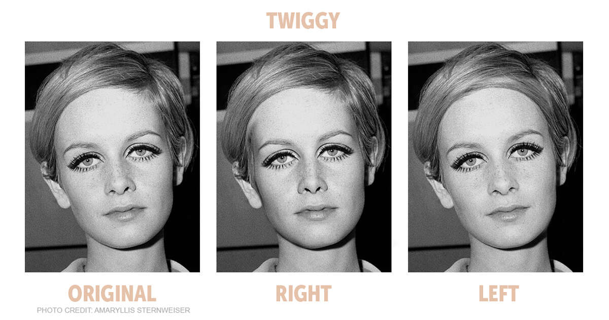 The Bella Ella Boutique challenged the theory that the most symmetrical faces are the most beautiful, so they compared the left and right sides of some of the most popular models' faces to test the theory. Here is the symmetry comparison of model Twiggy.