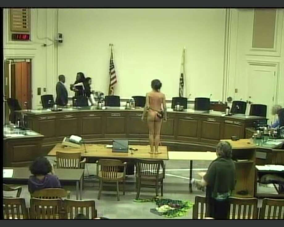 When the Berkeley City Council tabled a vote on Sept. 12, 2017, on the adoption of an ordinance that would make public displays of the female breast legal, activist Gypsy Taub shed her clothes in protest. Photo: City Of Berkeley