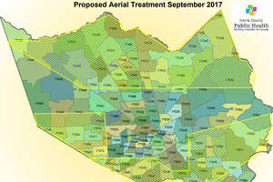 Northern and southern swaths of Harris County will be sprayed beginning Thursday evening as part of effort to control mosquitoes in the aftermath of flooding caused by Hurricane Harvey.