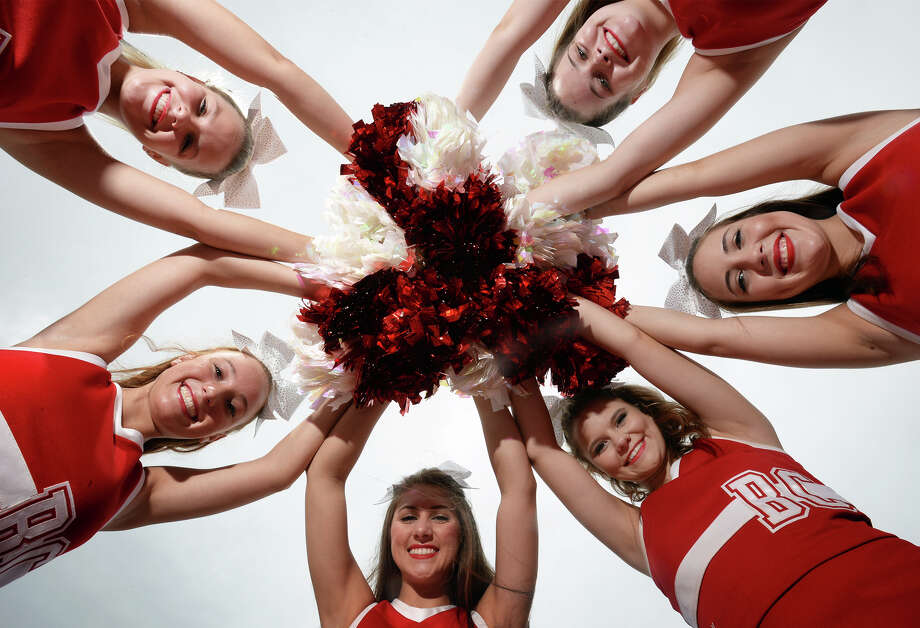Bridge City cheerleaders, clockwise from top left, Jacelynn Price, Kaylene Droddy, Shania Dies, Nicole Smith, Mackenzie Murdock, Mackenzie Land. Photo taken Tuesday, July 25, 2017 Guiseppe Barranco/The Enterprise Photo: Guiseppe Barranco, Photo Editor