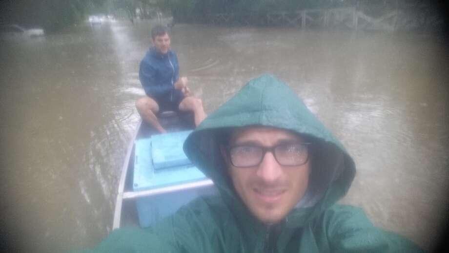 Reporter Mike Hixenbaugh paddled into Harvey in search of food for his family and a story for the newspaper.