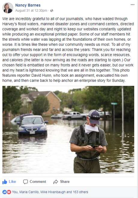 Editor Nancy Barnes praises the Chronicle staff's coverage, including a narrative written by three reporters affected by the storm. One of them, David Hunn, is pictured here.