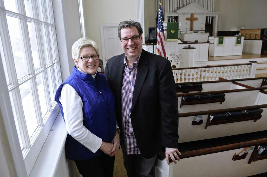 Jackie Penyak, of Danbury, and Pastor John Parille of the Bethel United Methodist Church are leading the churches fundraising to purchase chimes for the church. Tuesday, January 31, 2017, in Bethel, Conn. Photo: H John Voorhees III / Hearst Connecticut Media / The News-Times