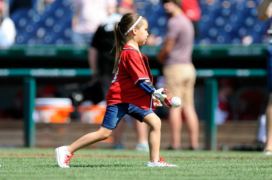 PHOTOS: Teams interested in having Hailey Dawson through out a first pitchWASHINGTON, DC - JUNE 11: Hailey Dawson throws out the opening pitch with her 3D printed hand before the game between the Washington Nationals and the Texas Rangers at Nationals Park on June 11, 2017 in Washington, DC.  (Photo by Greg Fiume/Getty Images)Browse through the photos to see some of the teams that have already reached out to Hailey about throwing out a first pitch.  Photo: Greg Fiume/Getty Images